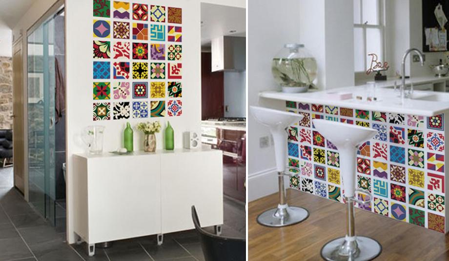 Revestimento estilo azuejo hidráulico adesivado em parede da sala sobre apara # Adesivo Para Azulejo De Cozinha Pode Molhar