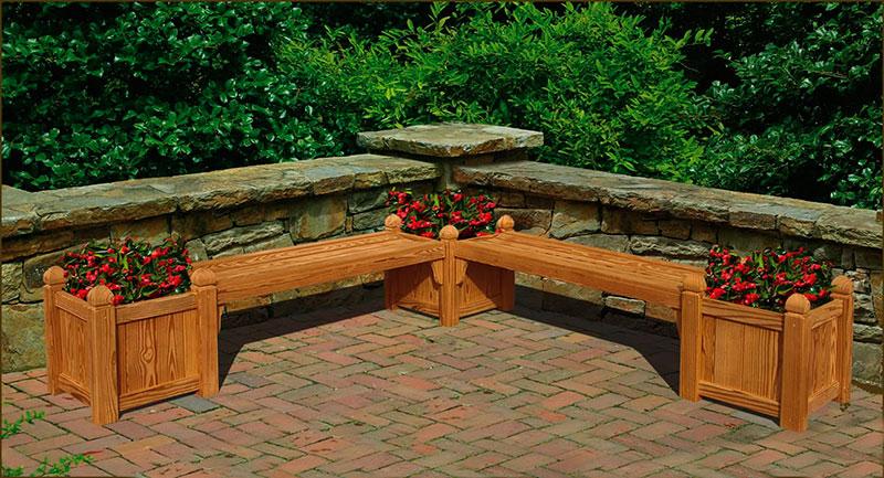 Banco para jardim externo com áreas para floreiras nas extremidades