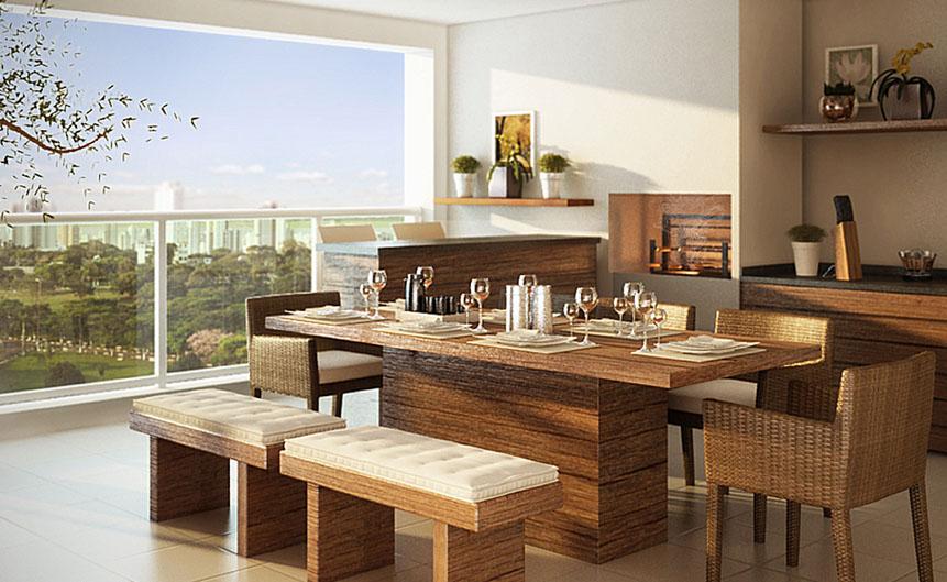 Móveis de madeira fazem as vezes na decoração desta varanda com ambiente gourmet