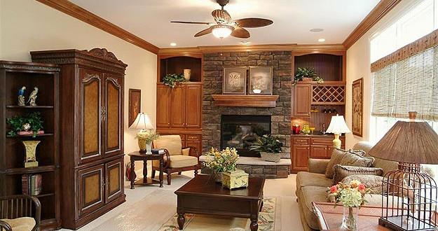 Decoração de casa rústica com móveis de madeira