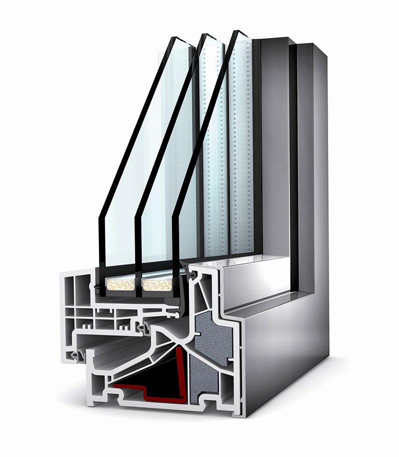 Imagem de um segmento de janela anti-ruído com vidro triplo em corte, de marca italiana.