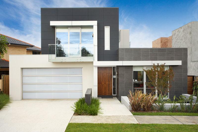 modelo de casa com 2 pavimentos do estilo moderno, co fachada revestida por cerâmica