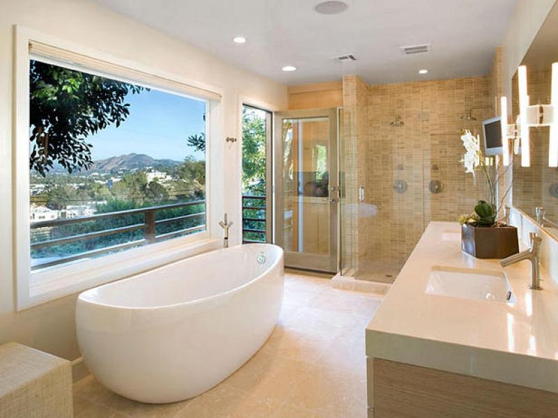 banheiro misto com box para ducha e banheira
