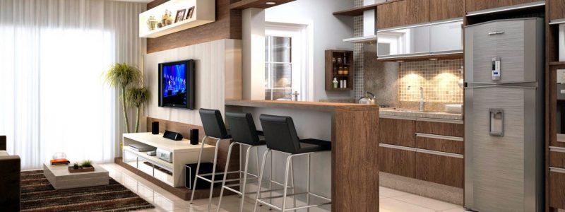 Decoração com móveis de madeira em cozinha americana