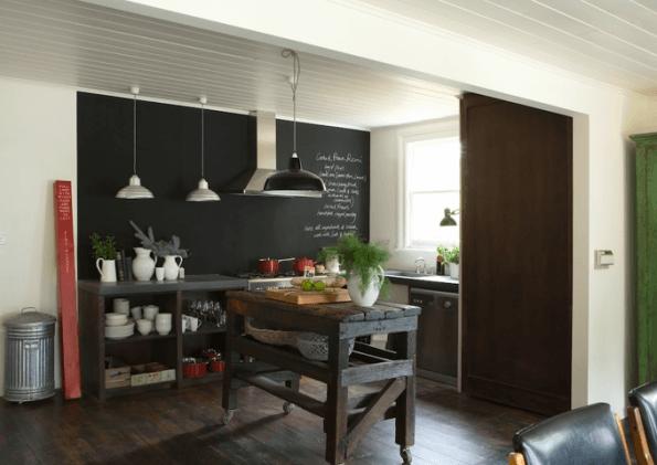 Cozinha pintada com tinta lousa