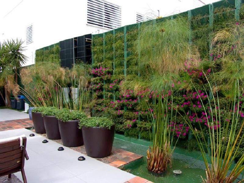 Diversos enfeites para jardim: jardim vertical, iluminação embutida no solo, vasos para jardim e espelho d'água