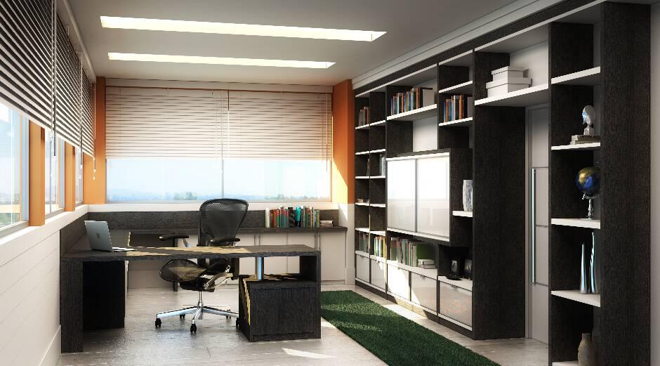 Escritório residencial simples, mas marcado pela praticidade e eficiência