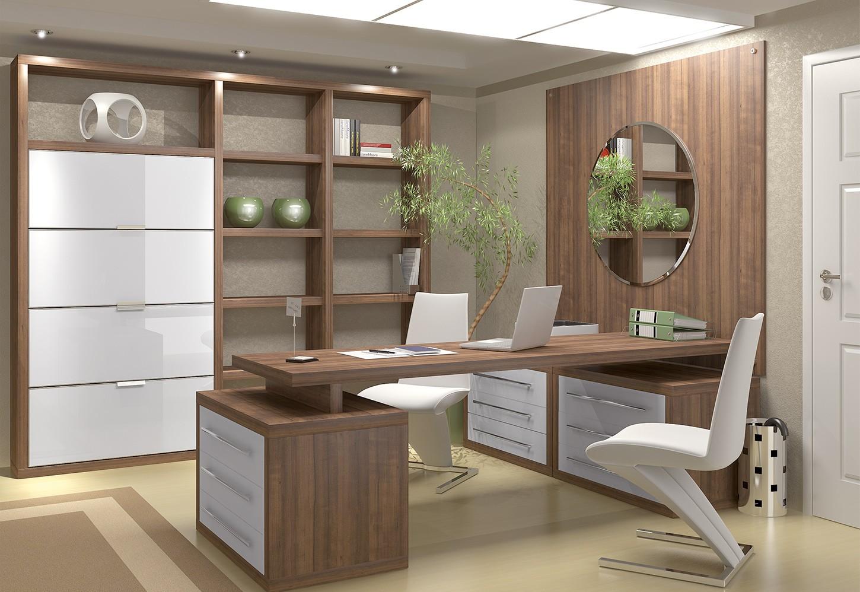 Home Office feito todo em móveis de madeira sob medida