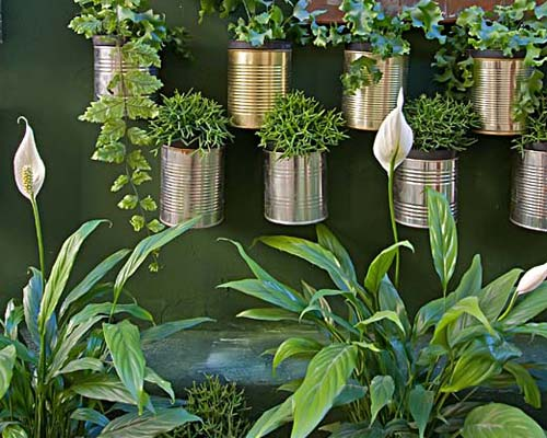 ideias para jo jardim vertical não vão faltar: neste caso, o uso de latas presas na parede deram um efeito muito legal na decoração de um apartamento