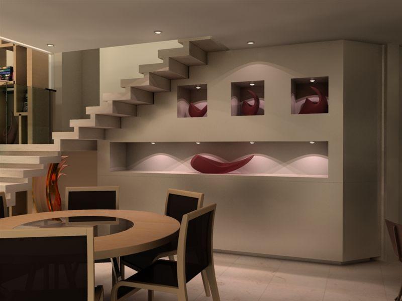 Na sala de jantar, os nichos também são uma boa pedida, podem servir como local para guardar objetos de decoração