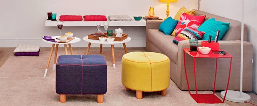 Puffs de modelos mais simples, funcionais e decorativos