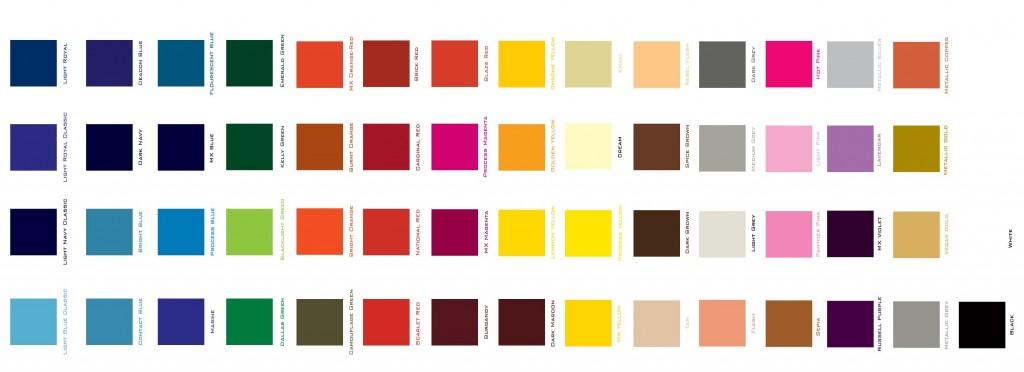 Tabela de cores sólidas de tinta para pintura epóxi disponíveis