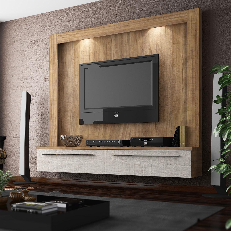 Modelo de painel de madeira para TV com iluminação de pequenas luminárias LED na parte posterior