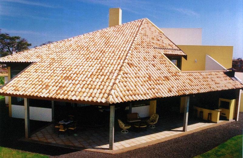 Telhado com telha americana mesclada