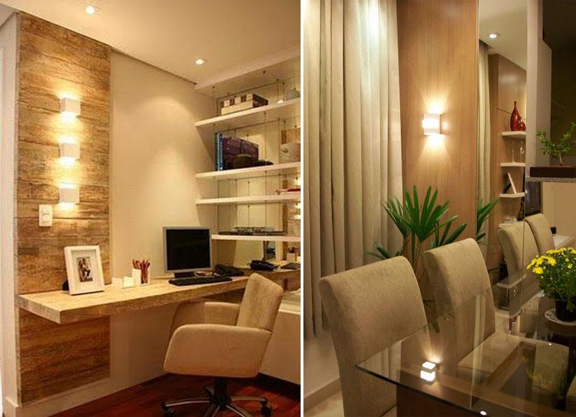 ~Exemplo de painel de madeira no quarto sendo destacado pela iluminação na parede