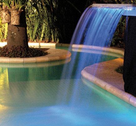 Modelo de LED azul para cascata de uma piscina