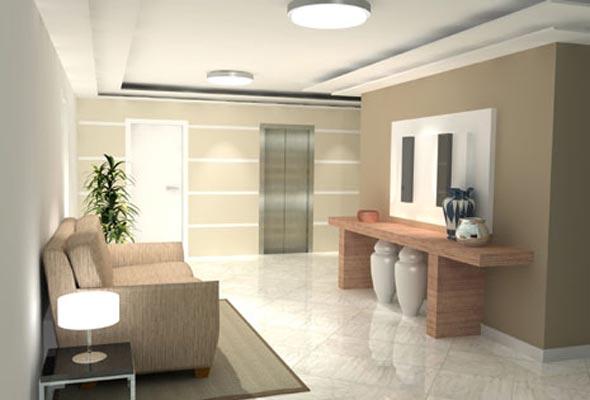 hall de entrada moderno decorado com mobília minimalista, sofá e aparador, além de plafons sobrepostos no forro de gesso