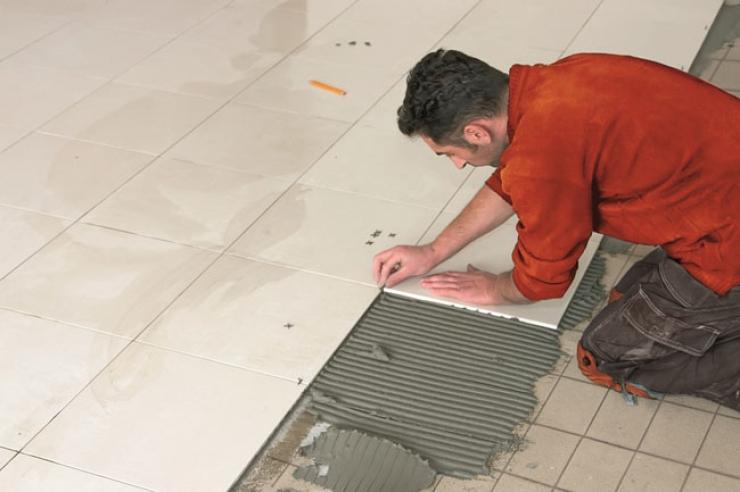 Aplicação do Piso sobre piso antigo, com uso de argamassa