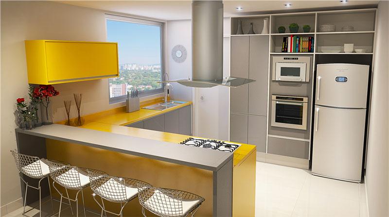 modelo versátil de cozinha gourmet com móveis amarelos, trazendo vida para o ambiente