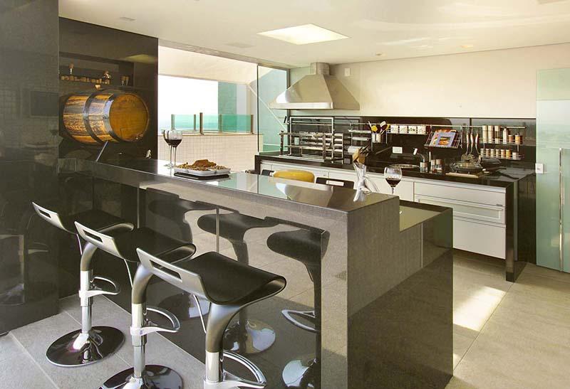 modelo de bancada para cozinha gourmet preta em granilite