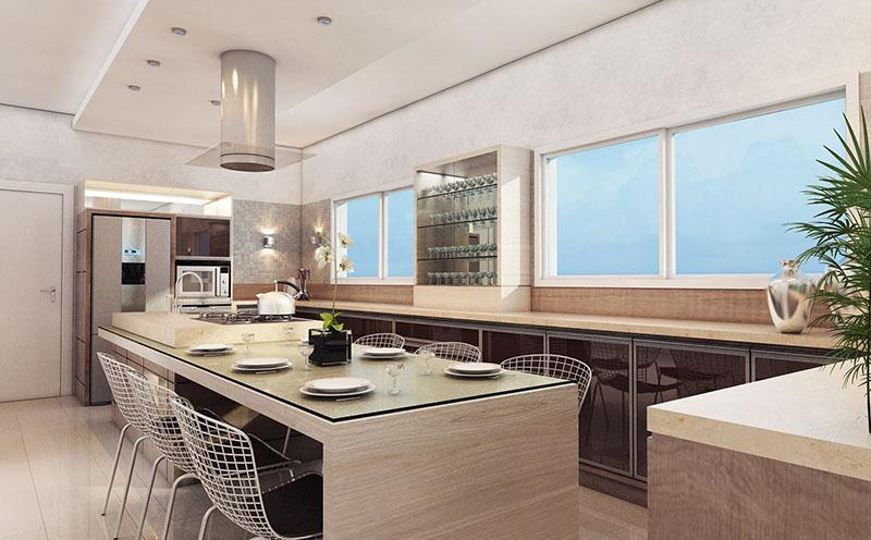 Nesse modelo da cozinha, a bancada é feita em madeira clara, combinando com o piso porcelanato de tons quase brancos