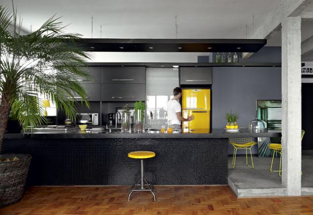 Esse modelo de cozinha usa vasinhos de flores e uma grande palmeira para contrastar com o preto da decoração