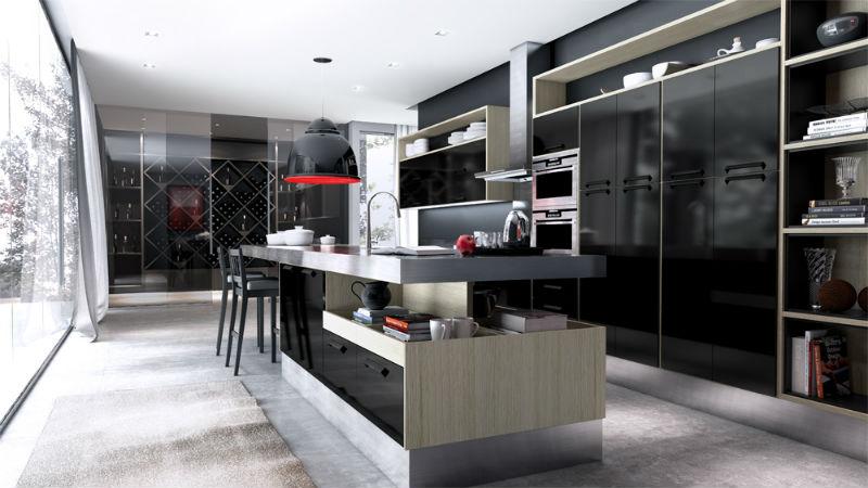 Moveis claros e de aço inox ajudam a dar uma quebrada na rigidez do preto da cozinha