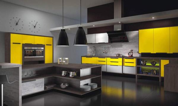 Cozinha preta decorada com mobília amarela, fazendo contraste com as cores escuras