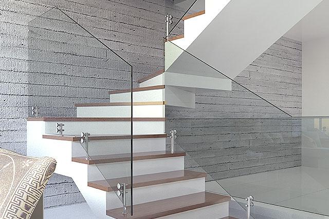 Guarda corpo de vidro de escada de concreto