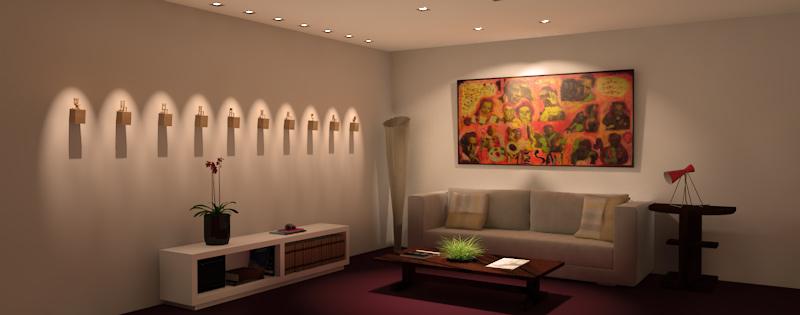 Parede da sala recebendo destaque com luz de lâmpadas dicróicas no forro