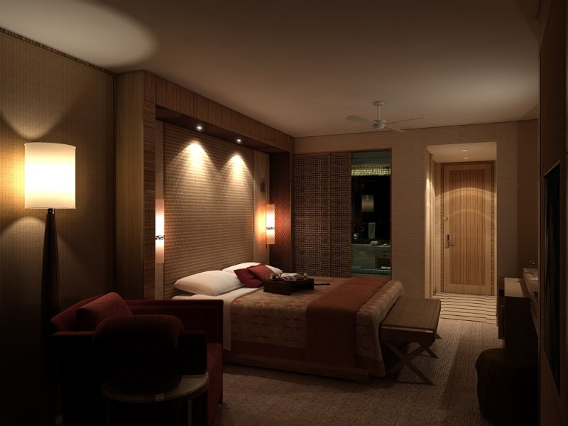 cabeceira da cama decorada com iluminação de efeito dicróica