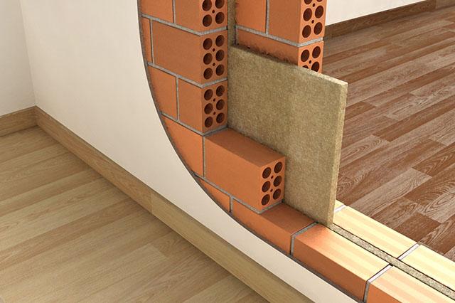 Lã de rocha colocada entre alvenarias para proporcionar o isolamento entre as peças