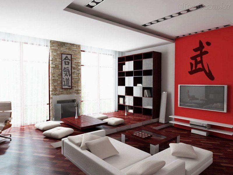 3- Parede de fundo vermelha para dar destaque ao painel da TV