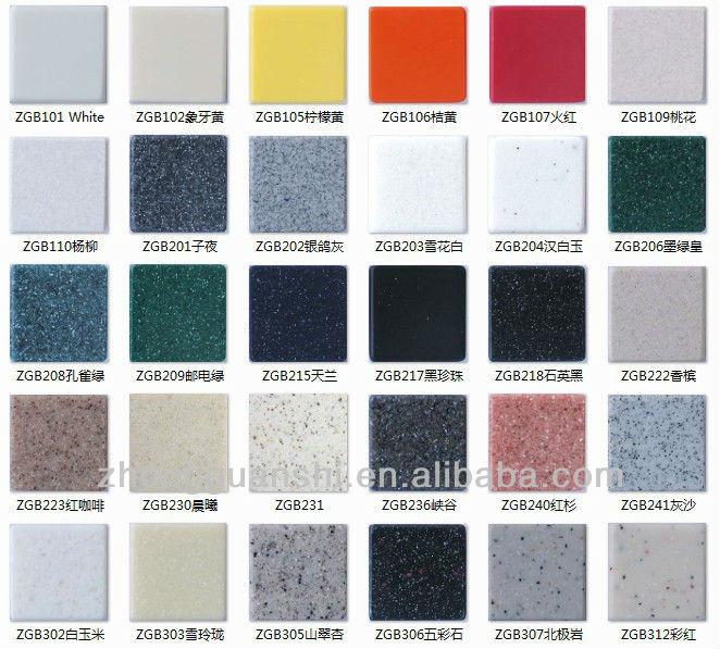 tabela com diversas cores disponíveis de marmoglass