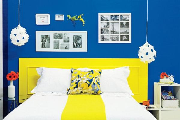 Acabamento de quarto pintado com tinta esmalte azul