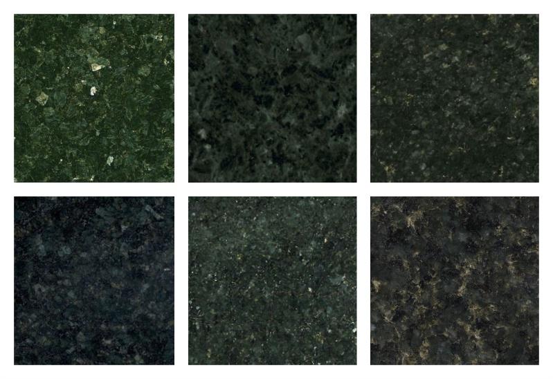 Diferentes texturas que o granito verde Ubatuba pode assumir