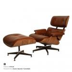 Um modelo mais discreto de poltrona Charles Eames é a com revestimento marrom