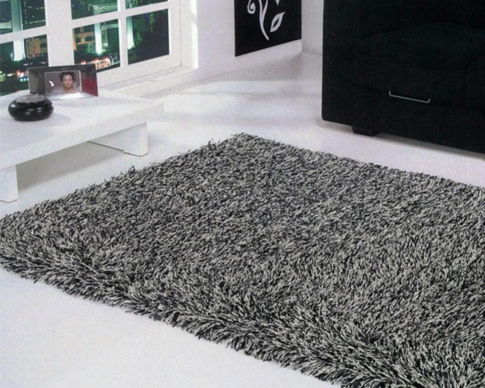 Tapete Shaggy padrão negresco, de lã, misturando as cores preto e branco