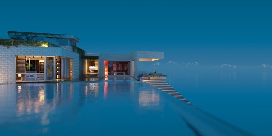 casa com piscina de borda infinita na Austrália