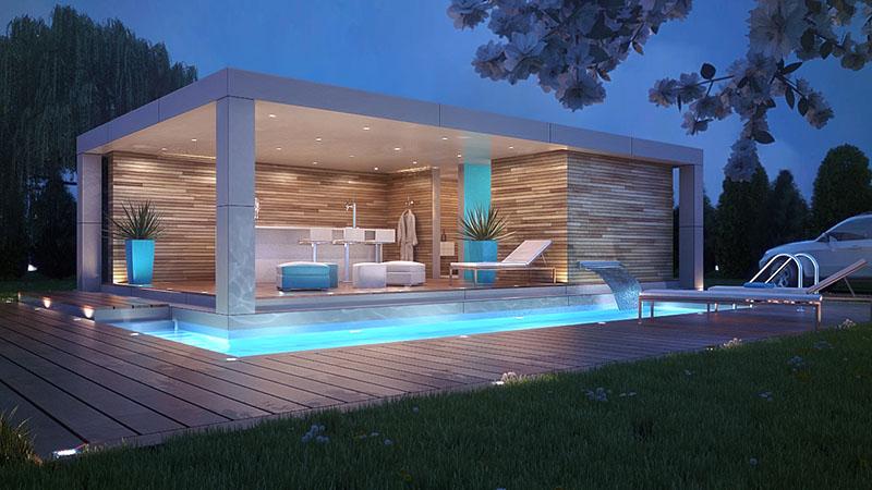Pequena casa de piscina contornada por uma piscina espelho d'água com formato bem regular
