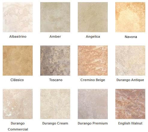Confira essa pequela tabela de cores de mármore travertino, incluindo as tonalidades Clássico, Navona e Toscano