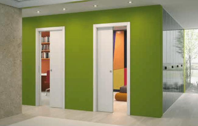 em uma parede com espessura maior, como nesse caso, pode-se embutir duas portas no mesmo segmento de parede.