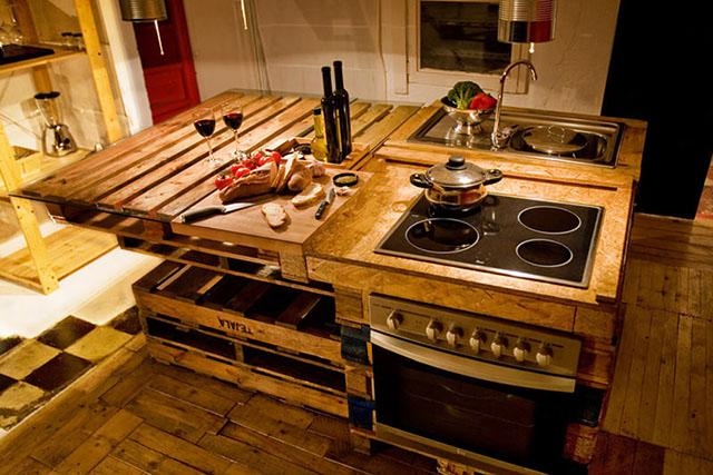 Cozinha feita com paletes