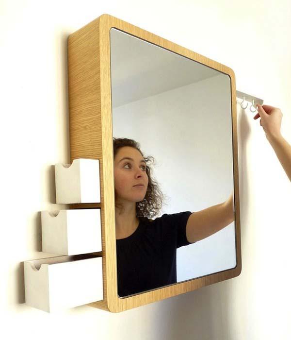 Armário para banheiro com espelho quadrado