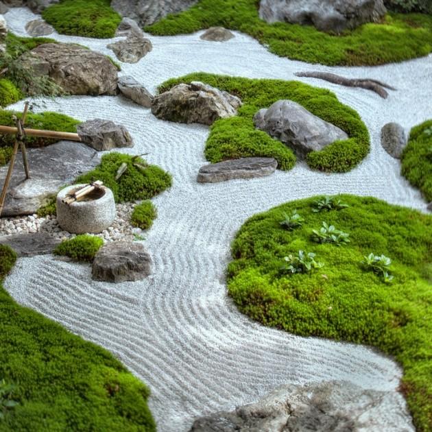 Modelo de jardim do tipo Zen, misturando pedras com grama