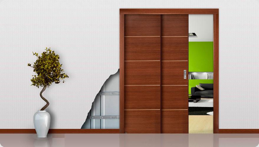 porta de correr embutida na parede de gesso modelo Neolatina Openspace
