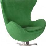 Cadeira Egg revestida em Suede verde