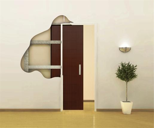 Esquema simplificado simulando a instalação de uma porta de embutir em parede de gesso