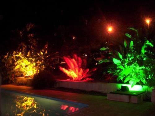iluminacao jardim verde:Uso de refletores LED RGB para decoração da vegetação do jardim