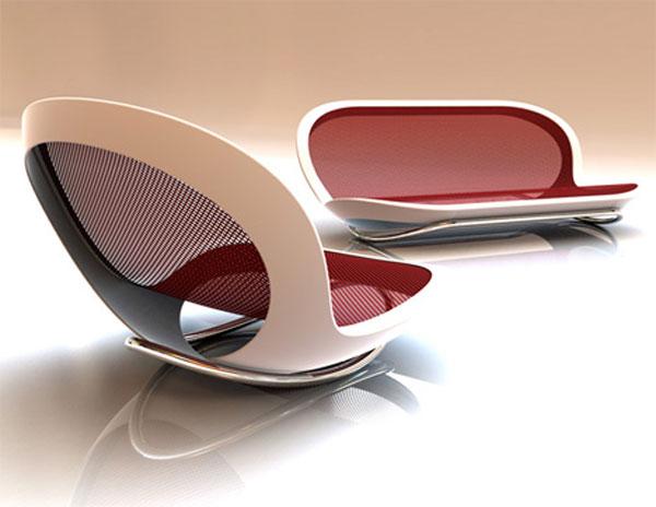 Já esse modelo usa e abusa das formas futuristas. O uso de materiais metálicos dá um visual super moderno para esse modelo de sofá